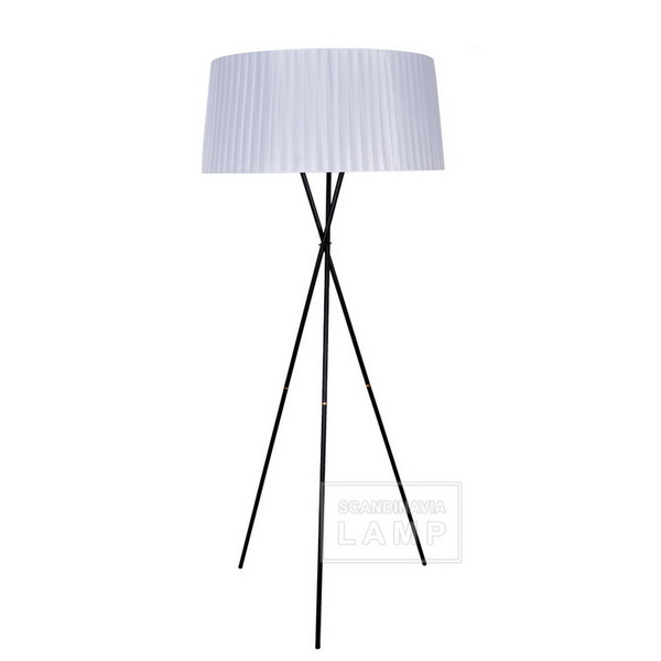 White fabric shade Cole Tripode G5 Floor Lamp