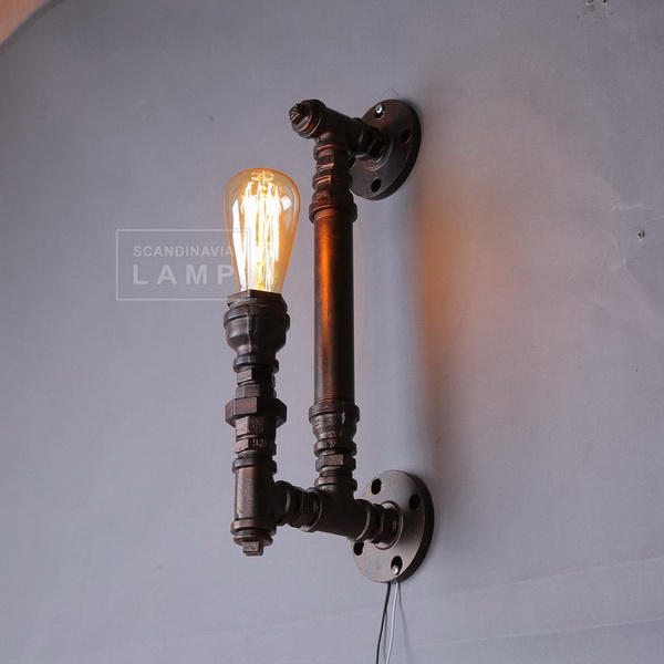 Vintage Artistic Wall Light in Water Pipe Connection Design