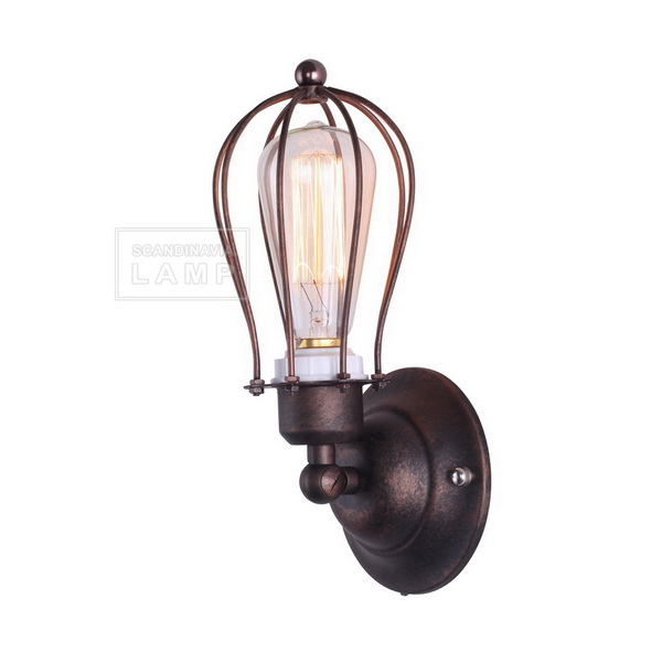 NEW Marconi Small Cage Sconce Single Aged Steel