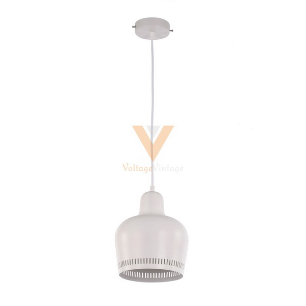 White painted artek golden bell pendant lamp