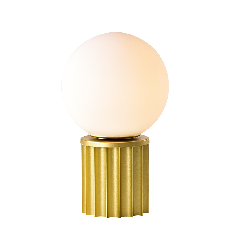 Opal Glass Table Lamp Dia20cm With Solid Brass