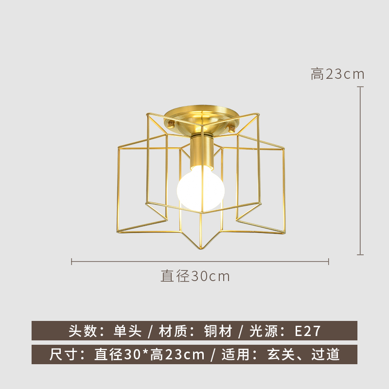 The diference size of Copper Surround Design Pentagonal Star Shape Ceiling Led Light
