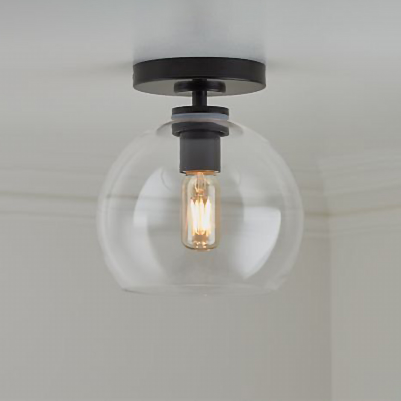 Black/glod Flush Mount Light with Clear glass Shade